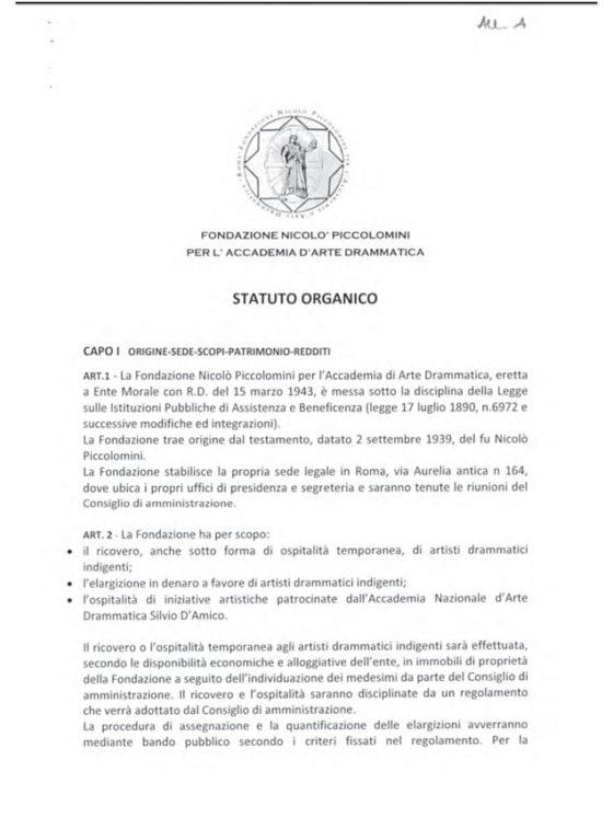 Statuto Fondazione Piccolomini